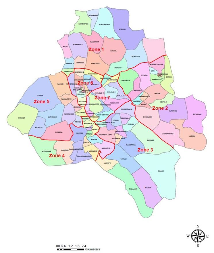 the city of Kampala was subdivided into 7 collection zones